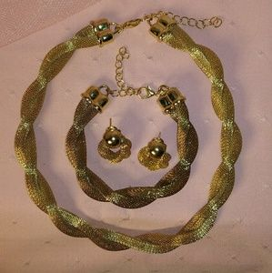 Set - Woven Twist Rope Gold Necklace Earring Bra…